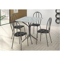 Jogo de Mesa e 04 Cadeiras Thais com Tampo em Madeira/MDF Craquelada/Assento Preto Flor - Artefamol -
