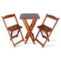 Jogo De Mesa E Cadeira Bistro Dobravel Para Area Gourmet - Imbuia - Tarimatã