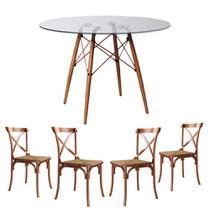 Jogo De Mesa Eiffel Redondo Tampo De Vidro 90cm Com 4 Cadeiras Katrina Cobre Assento Rattan Bege - Asturias