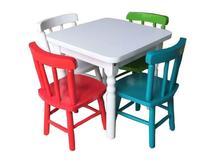 Jogo De Mesa Infantil Com 4 Cadeiras Coloridas Disa Móveis -