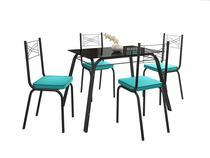 Jogo de Mesa Lotus Preto 107cm com 4 Cadeiras 119 Preto/Azul Turquesa - Artefamol -