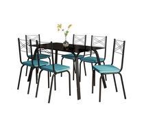 Jogo de Mesa Lotus Preto 140cm com 6 Cadeiras 119 Preto/Azul Turquesa - Artefamol -