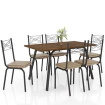Jogo de Mesa Lótus Tampo de Madeira e 6 Cadeiras 119 Preto/Rattan - Artefamol -