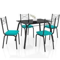 Jogo de Mesa Lótus Tampo de Vidro e 4 Cadeiras 119 Preto/Azul Turquesa - Artefamol -