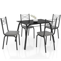 Jogo de Mesa Lótus Tampo de Vidro e 4 Cadeiras 119 Preto/Platina - Artefamol -