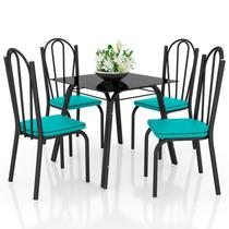 Jogo de Mesa Lótus Tampo de Vidro e 4 Cadeiras 121 Preto/Azul Turquesa - Artefamol -