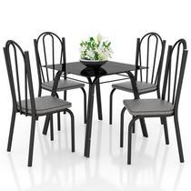 Jogo de Mesa Lótus Tampo de Vidro e 4 Cadeiras 121 Preto/Platina - Artefamol -