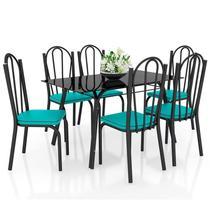 Jogo de Mesa Lótus Tampo de Vidro e 6 Cadeiras 121 Preto/Azul Turquesa - Artefamol -