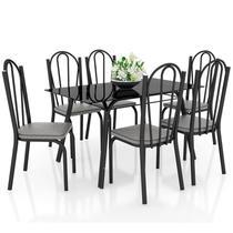 Jogo de Mesa Lótus Tampo de Vidro e 6 Cadeiras 121 Preto/Platina - Artefamol -