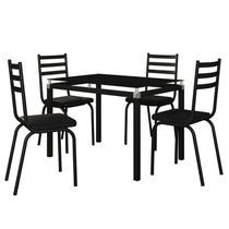 Jogo de Mesa Malva 107cm e 4 Cadeiras 118 Preto - Artefamol -