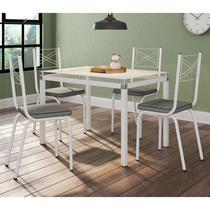 Jogo de Mesa Malva 107cm e 4 Cadeiras 119 Branco/Platina - Artefamol -