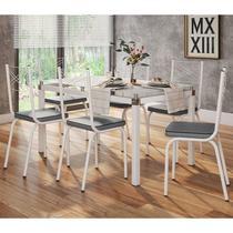 Jogo de Mesa Malva 140cm e 6 Cadeiras 119 Branco/Platina - Artefamol -