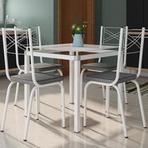 Jogo de Mesa Malva 75cm e 4 Cadeiras 119 Branco/Platina - Artefamol -
