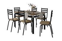 Jogo de Mesa Malva Preto 136cm x 80cm com 6 Cadeiras 118 Preto/Rattan - Artefamol -
