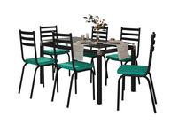 Jogo de Mesa Malva Preto 140cm com 6 Cadeiras 118 Preto/Azul Turquesa - Artefamol -