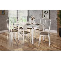 Jogo de Mesa Malva Vidro Branco 140 Cm com 6 Cadeiras 121 Branco Ratan Artefamol -