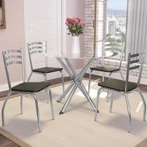 Jogo De Mesa Redonda 4 Cadeiras Kappesberg Crome Cromado/Marrom -