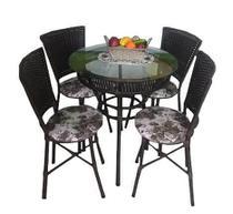 Jogo de Mesa Vime Redonda com Tampo de Vidro e 4 Cadeiras Bonam - Estrela Móveis