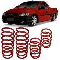 Jogo de Molas Esportivas Chevrolet Montana 2004 a 2010 Suspensão em Aço Vermelho - Jjespeciais