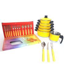 Jogo de Panela 5 Pçs Amarelo   Faqueiro   Fervedor de Brinde - Aluminio Amj