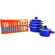 Jogo de Panela 5 Pçs Azul   Faqueiro 12 Pçs - Alumínio Nacional