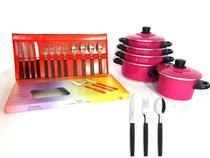Jogo de Panela 5 Pçs Rosa   Faqueiro 12 Pçs - Aluminio Amj