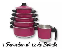Jogo de Panela 5 pçs Rosa Pink   fervedor nº 12 de Brinde - Aluminio Amj