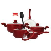 Jogo de Panela 5 peças Indução Antiaderente Cerâmica Vermelha Hauskraft -