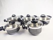 Jogo de Panela Alumínio Rebeca - 5 Peças Com Tampa de Vidro / Preto Craqueado - Tenesin Oficial