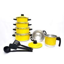 Jogo de Panela Caçarola 5 pçs    fervedor nº 12  de Brinde Amarelo - Aluminio Amj