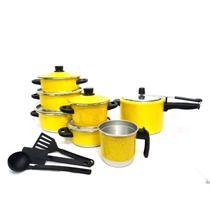 Jogo de Panela Caçarola 5 pçs   fervedor nº 12   Panela de Pressão 4,5 litros Amarelo - Alumínio Amj
