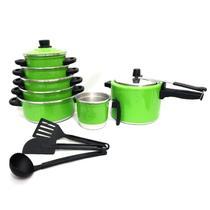 Jogo de Panela Caçarola 5 pçs   fervedor nº 12   Panela de Pressão 4,5 litros Verde - Aluminio Amj