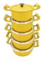 Jogo De Panela Em Aluminio Batido Fundido Grosso Amarelo - Panelasbrasil