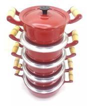 Jogo De Panela Em Aluminio Batido Fundido Grosso Vermelho - Panelasbrasil