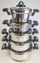 Jogo de Panela Rebeca - 5 Peças Com Tampa de Vidro + Brinde / Alumínio Polido - Tenesin Oficial -