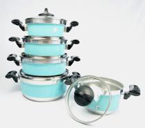 Jogo de Panela Rebeca - 5 Peças Com Tampa de Vidro + Brinde / Azul Tiffany - Tenesin