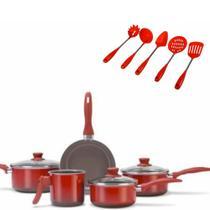 Jogo de Panelas 5 pcs Ceramic Life Smart Vermelha  com Utensilios Brinox -