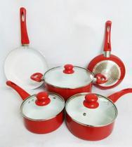 Jogo De Panelas 5pcs Cerâmica Vermelha Fundo Indução Idea -