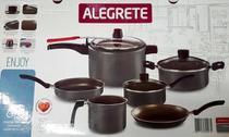 Jogo De Panelas 6peças C/ Pressão Antiaderente C/tampa Vidro Preto - Alegrete