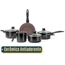 Jogo de Panelas Brinox Ceramica Antiaderente  Conjunto com 5 Peças  Preta -