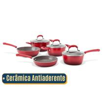 Jogo de Panelas Brinox Ceramica Antiaderente  Conjunto com 5 Peças  Vermelha -