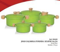 Jogo de Panelas Caçarola Aluminio Fundido Tampa Aluminio Cor Verde Kiwi 5 peças - Inga -