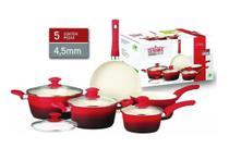Jogo De Panelas Cerâmica 5 Peças Vermelha 4,5mm Class Home -
