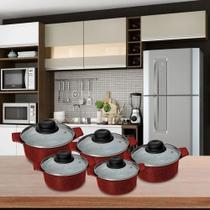 Jogo de Panelas em Cerâmica Antiaderente Premium 5 Pçs Vermelho Casa Dona -