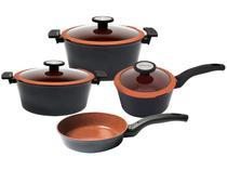 Jogo de Panelas Neoflam Revestimento Cerâmico - de Alumínio Preta e Laranja 4 Peças de Chef