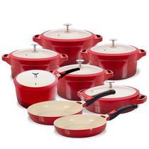 Jogo De Panelas Red Le Cook Revestimento Cerâmico 8 Peças -