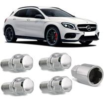 Jogo de Parafuso Roda Antifurto Mercedes Class E 02 a 17 Cromado M14 x 1,5 4 Peças com Chave Segredo - Trava Tudo