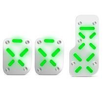Jogo de Pedaleiras Esportivas Iluminadas Tuning com Led Verde Neon 3 Peças Acabamento Perfeito - Shekparts