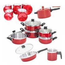 Jogo de penelas alumínio kit completo cor vermelho - Casa Útil