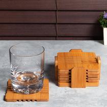 Jogo de Porta-Copos Quadrados de Bambu Rust Grate com 7 Peças - ETNA